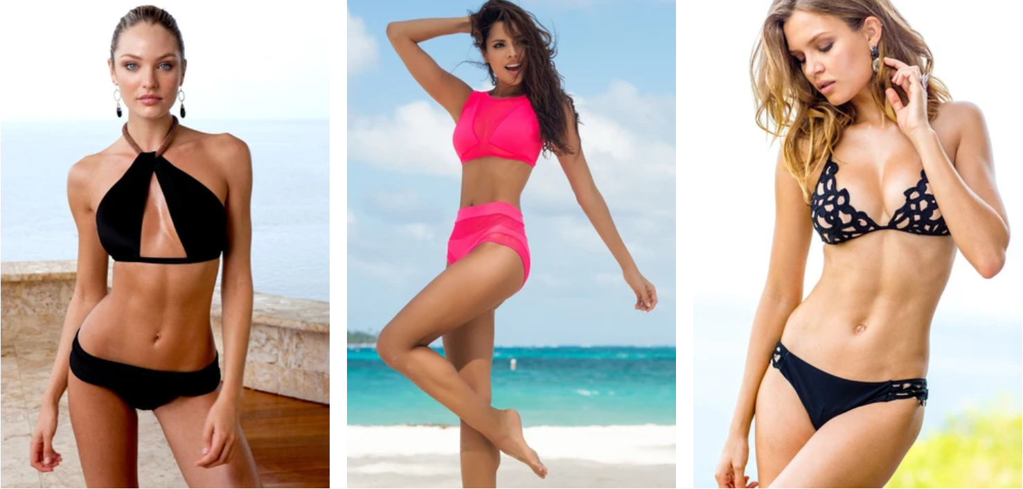 Get vacation swimsuits: bikinis, one piece, athletic, cover ups